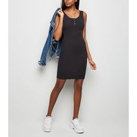 Black Ribbed Popper Front Bodycon Dress New Look