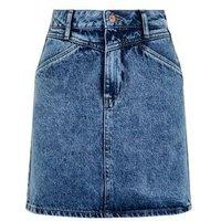 Blue Acid Wash Yoke Front Denim Skirt New Look