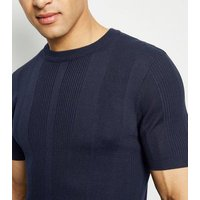 Navy Knit Short Sleeve Muscle Fit T-Shirt New Look