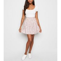 White Ditsy Floral Shirred Waist Mini Skirt New Look