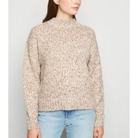 Cream Nep Knit High Neck Jumper New Look