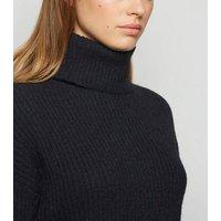 Black Ribbed Knit Roll Neck Jumper New Look