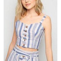 Cameo Rose White Stripe Crop Cami New Look