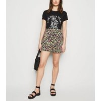 Black Floral Wide Leg Shorts New Look