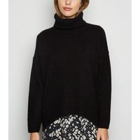 Black Slouchy Roll Neck Batwing Jumper New Look