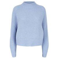 Blue Stitch Knit High Neck Jumper New Look