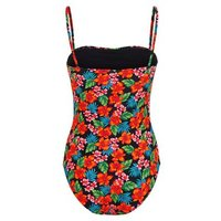 Girls Black Tropical Floral Ruched Swimsuit New Look