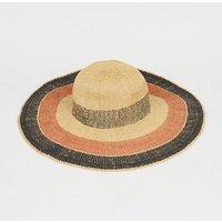 Brown Woven Straw Effect Stripe Hat New Look