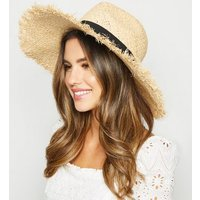 Stone Fray Trim Straw Hat New Look