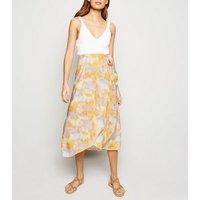 White Tie Dye Wrap Midi Skirt New Look