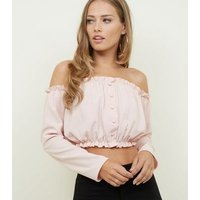 Pale Pink Button Front Bardot Crop Top New Look