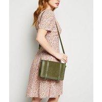 Khaki Suedette Studded Messenger Bag New Look