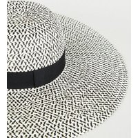 Black Woven Straw Effect Hat New Look