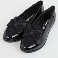 Black Patent Bow Loafers New Look Vegan