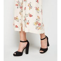 Black Suedette Platform Block Heels New Look Vegan