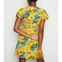 Mela Yellow Floral Frill Trim Wrap Dress New Look