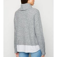 Pale Grey 2 in 1 Roll Neck Jumper New Look