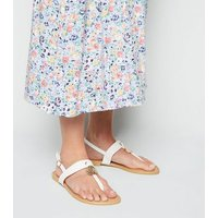Wide Fit White Leather-Look Hammered Ring Sandals New Look