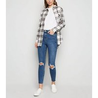 Blue 'Lift & Shape' Ripped Knee Skinny Jeans New Look