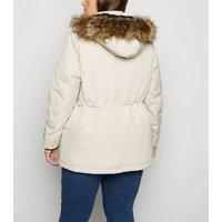 Curves Stone Faux Fur Trim Parka Jacket New Look