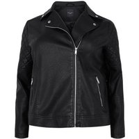 Curves Black Leather-Look Biker Jacket New Look