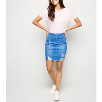 Cameo Rose Bright Blue Ripped Denim Skirt New Look