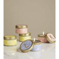 Gold Floral J Initial Tin Scented Candle New Look