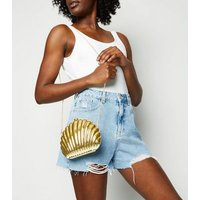 Gold Metallic Shell Shoulder Bag New Look