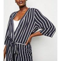 JDY Navy Stripe Longline Kimono New Look