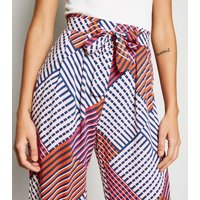 JDY Pink Diamond Print Belted Culottes New Look