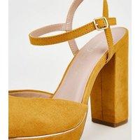 Mustard Suedette 2 Part Platform Block Heels New Look