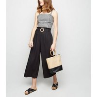 Black Linen Blend Buckle Cropped Trousers New Look