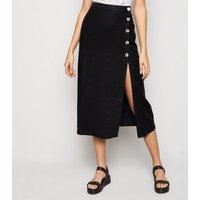 Black Linen Blend Button Front Midi Skirt New Look