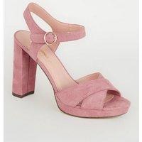 Pink Suedette Cross Strap High Vamp Heels New Look Vegan