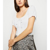 Off White Frill Trim Milkmaid Top New Look
