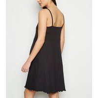 Maternity Black Ribbed Button Up Skater Dress New Look
