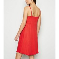 Maternity Red Ribbed Button Up Skater Dress New Look