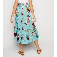 Blue Floral Ruffle Hem Wrap Midaxi Skirt New Look