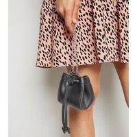 Black Leather-Look Mini Duffle Bag New Look