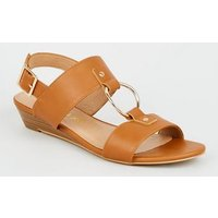 Tan Leather-Look Ring Strap Wedge Sandals New Look