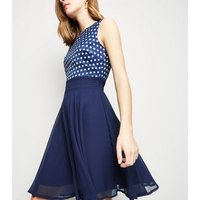 Apricot Navy Polka Dot Chiffon Dress New Look