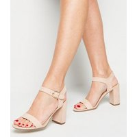 Pale Pink Suedette Ankle Strap Block Sandals New Look Vegan