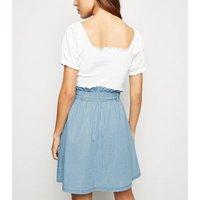 Blue Denim Button Up High Waist Skirt New Look