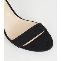 Wide Fit Black Suedette 2 Part Block Heels New Look