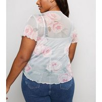 Curves Pink Floral Mesh T-Shirt New Look