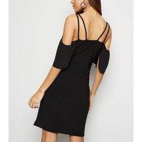 Black Slinky Cold Shoulder Wrap Dress New Look