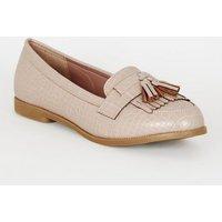 Pale Pink Faux Croc Tassel Loafers New Look