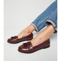 Burgundy Faux Croc Tassel Loafers New Look