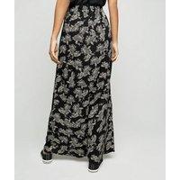 Black Paisley Side Split Maxi Skirt New Look