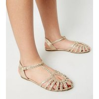 Girls Gold Plaited Strap Caged Sandals New Look